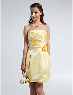 Short/Mini Satin Bridesmaid Dress - Daffodil Plus Sizes Sheath/Column Strapless