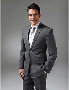 Suits Tailored Fit Slim Notch Single Breasted Two-buttons Wool & Polyester Blended Solid 2 PiecesBlack / Gray / Blue / Pink / White /