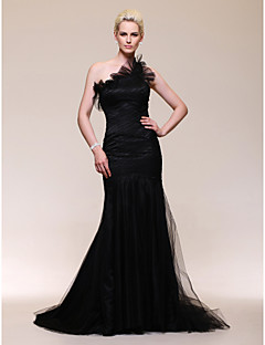 Formal Evening Dress - Vintage Inspired Trumpet / Mermaid One Shoulder Sweep / Brush Train Tulle with Ruffles / Side Draping