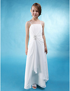 Floor-length Chiffon / Stretch Satin Junior Bridesmaid Dress - White A-line Spaghetti Straps