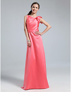 Floor-length Satin Bridesmaid Dress - Watermelon Plus Sizes / Petite Sheath/Column Bateau