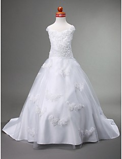 Lanting Bride A-line / Ball Gown / Princess Court Train Flower Girl Dress - Satin / Tulle Sleeveless Sweetheart / Straps with Appliques