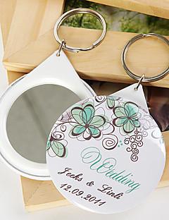 gepersonaliseerde spiegel sleutelhanger - groen bloemen (set van 12)