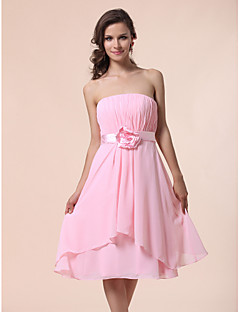 Knee-length Chiffon Bridesmaid Dress - Blushing Pink Plus Sizes / Petite A-line / Princess Strapless