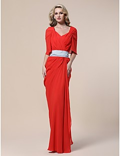 TS Couture Formal Evening / Military Ball Dress - Ruby Plus Sizes / Petite Sheath/Column V-neck Floor-length Chiffon