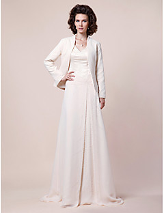 A-line Plus Sizes Mother of the Bride Dress - Ivory Sweep/Brush Train Long Sleeve Chiffon/Satin