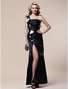 저녁 정장파티/밀리터리 볼 드레스 - 블랙 시스/컬럼 바닥 길이 원 숄더 엘라스틱 우븐 사틴