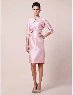 Lanting Sheath/Column Plus Sizes / Petite Mother of the Bride Dress - Blushing Pink Knee-length 3/4 Length Sleeve Taffeta