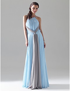 Prom / Military Ball / Formal Evening Dress - Sky Blue Plus Sizes / Petite Sheath/Column Jewel / Spaghetti Straps Floor-length Chiffon