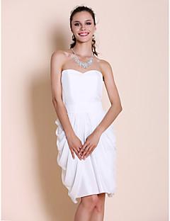 LAN TING BRIDE באורך  הברך סטרפלס מחשוף לב שמלה לשושבינה - אלגנטי ללא שרוולים שיפון טפטה