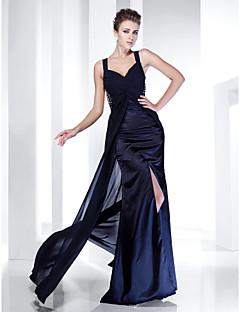 저녁 정장파티/밀리터리 볼 드레스 - 다크 네이비 시스/컬럼 바닥 길이 스트랩 쉬폰/사틴 플러스 사이즈