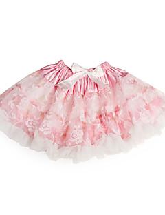 Flower Print Ribbon Tulle Tutu Girl Skirt With Lining