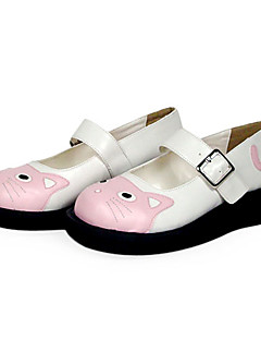 "Cat Pattern 1"" Flat PU Lolita Shoes"