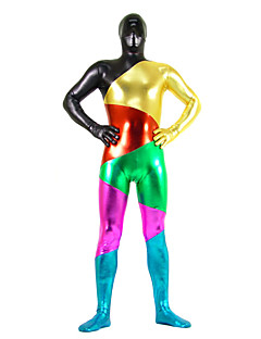 Multicolor Mixed Color Shiny Metallic Spandex Zentai