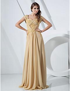 Formal Evening/Military Ball Dress - Gold Plus Sizes Sheath/Column Off-the-shoulder Floor-length Chiffon
