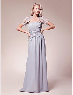 Lanting Sheath/Column Plus Sizes / Petite Mother of the Bride Dress - Silver Floor-length Short Sleeve Chiffon / Lace