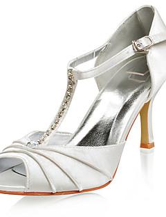 högsta kvalitet satin övre högklackade peep-toes med rhinestone mode skor