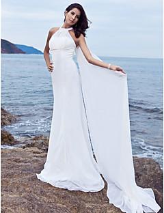 Sheath/Column Plus Sizes Wedding Dress - White Sweep/Brush Train Halter Chiffon