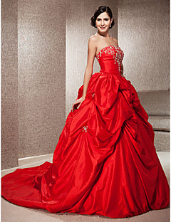 Lan Ting Ball Gown Plus Sizes Wedding Dress - Ruby (color may vary by monitor) Chapel Train Strapless Taffeta