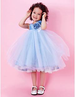 A-line/Princess/Ball Gown Knee-length Flower Girl Dress - Tulle/Taffeta Sleeveless