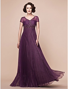 Lanting A-line Plus Sizes / Petite Mother of the Bride Dress - Grape Floor-length Short Sleeve Organza