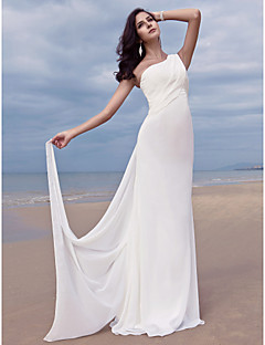 Sheath / Column One Shoulder Sweep / Brush Train Chiffon Wedding Dress with Side-Draped by LAN TING BRIDE®