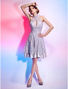 Cocktail Party Dress - Silver A-line/Princess High Neck Knee-length Stretch Satin/Lace