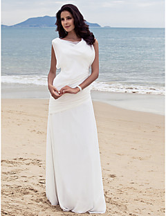 Lanting Bride® Sheath / Column Petite / Plus Sizes Wedding Dress - Chic & Modern / Glamorous & Dramatic / Reception Floor-length Bateau