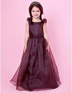 Lanting Bride A-line / Princess Floor-length Flower Girl Dress - Organza / Satin Sleeveless Jewel with Bow(s) / Draping / Flower(s)