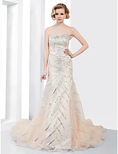 TS Couture® Formal Evening Dress - Champagne Plus Sizes / Petite Trumpet/Mermaid Strapless / Sweetheart Court Train Organza