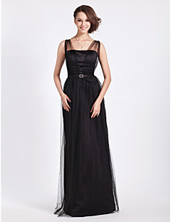 LAN TING BRIDE Floor-length Straps Bridesmaid Dress - Little Black Dress Sleeveless Tulle