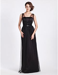 Floor-length Tulle Bridesmaid Dress Sheath / Column Straps Plus Size / Petite with Crystal Detailing / Draping / Sash / Ribbon
