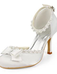 szatén tűsarkú zárt toe / szivattyúk íjjal esküvői cipő (több szín)