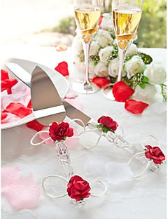 סטים משרתים עוגת ורדים אדומים גביש סכין עוגת החתונה מנה מוגדרת