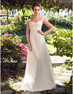 Lanting A-line/Princess Plus Sizes Wedding Dress - Ivory Floor-length Sweetheart Satin/Tulle