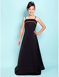 Lanting Bride® Floor-length Satin Junior Bridesmaid Dress A-line / Princess Square / Spaghetti Straps Natural with
