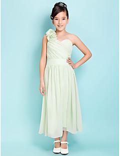 Lanting Bride® Tee-Länge Satin - Chiffon Junior-Brautjungferkleid A-Linie / Eng anliegend Ein/Schulter / Herzausschnitt Natürlich mit
