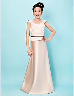 Lanting Bride® עד הריצפה סאטן שמלה לשושבינות הצעירות  גזרת A / נסיכה מחשוף עמוק טבעי עם אפליקציות / סרט