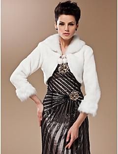 lange ermer faux fur brude bryllup jakke / sjal