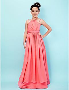 Lanting Bride Gulvlang Chiffon / Sateng Junior brudepikekjole A-linje / Prinsesse Haltertopp / Spagettistropper medDrapering / Belte /