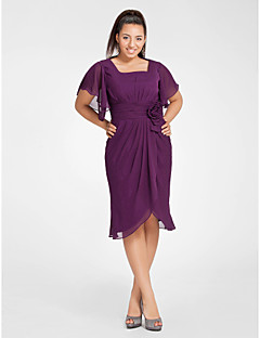 Cocktail Party Dress - Grape Plus Sizes Sheath/Column Square Knee-length Chiffon