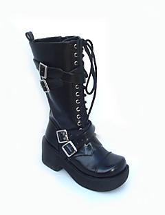 zwart pu leder 7,5 cm platform punk lolita laarzen