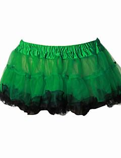 Jupe Doux Lolita Cosplay Vêtrements Lolita Vert Jaune Couleur Pleine Lolita Court Robe Pour Organza