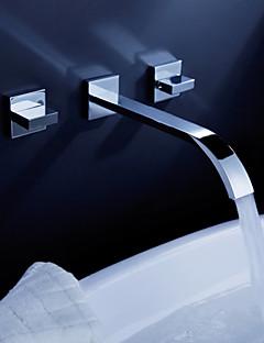 Moderne Vægmonteret Foss with  Keramisk Ventil To Håndtak tre hull for  Krom , Baderom Sink Tappekran