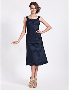 Lanting Bride Tea-length Taffeta Bridesmaid Dress A-line / Princess Square Plus Size / Petite with Side Draping