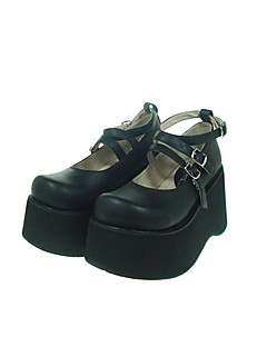 Black PU Leather 10cm Wedge Gothic Lolita Shoes