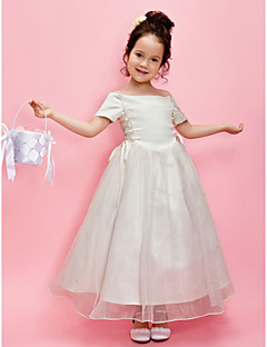 LAN TING BRIDE A-line Princess Ankle-length Flower Girl Dress - Organza Satin Off-the-shoulder with Beading Sash / Ribbon