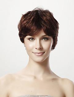 Capless 100% äkta hår peruk korta raka hår peruk 5 färger att välja