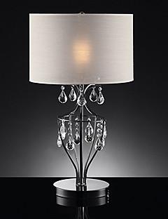 60W 1 - Light Stylish Lampada da tavolo in cristallo con paralume in tessuto