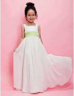 Lanting Bride A-line / Princess Floor-length Flower Girl Dress - Chiffon Sleeveless Square with Draping / Sash / Ribbon